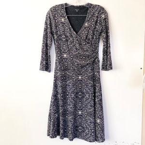 Garnet Hill Surplice 3/4 Sleeves Swing Dress | XS